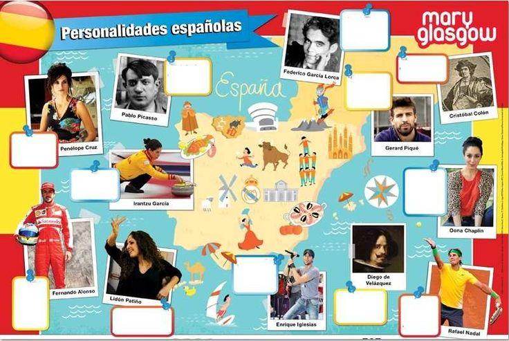 Sandrine nous envoie un poster qu'elle a trouvé sur le site de Mary Glasgow. En effet leur nouveau poster montre quelques personnalités espagnoles. Sandrine a supprimé ici les petits cadres explicatifs (illisibles sur l'image) et va demander à ses élèves...