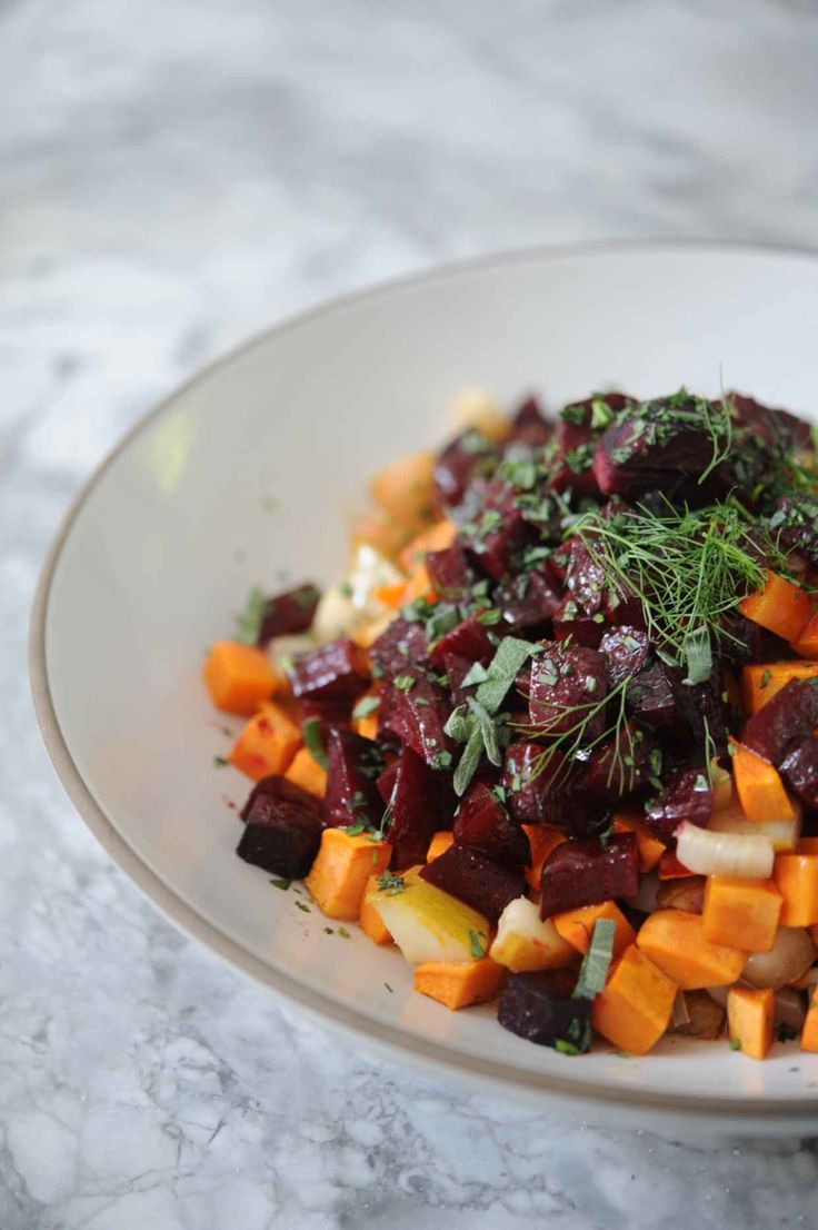 Roasted Sweet Potato, Beet, Pear, and Fennel Salad with Honey Cinnamon ...