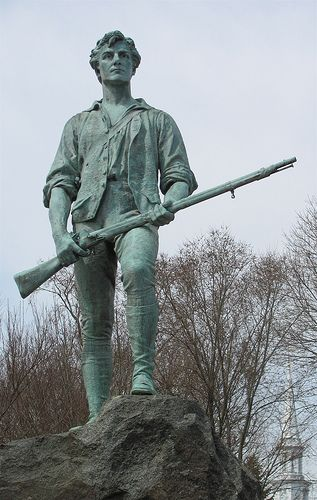 Lexington Green - On April 19, 1775, the first shots of the American Revolution rang at Lexington and Concord, Massachusetts. This statue at the Lexington Battlefield site is probably the most accurate depiction of what those first American soldiers, known as Minutemen, looked like.