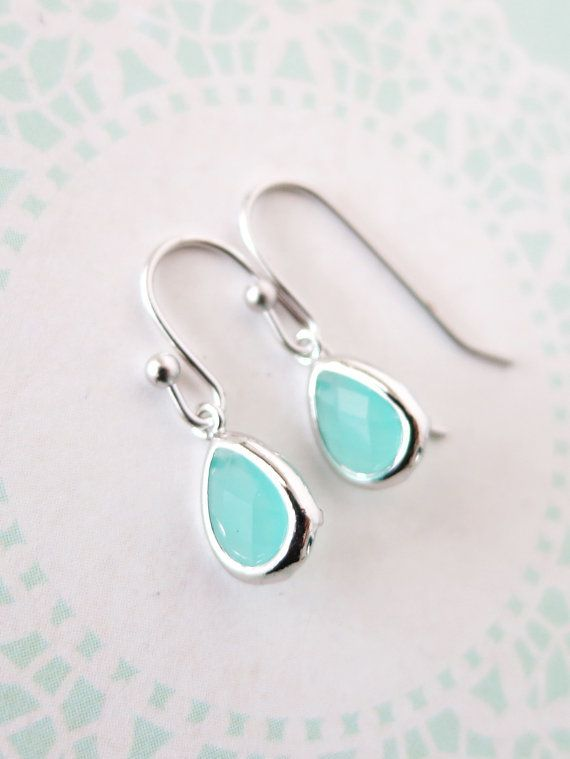Petite Silver Mint Teardrop Earrings Everyday