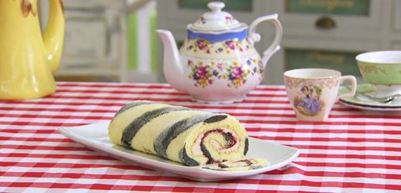 Paul Hollywood striped liquorice and blackcurrant Swiss roll recipe on The Great British Bake Off Masterclass