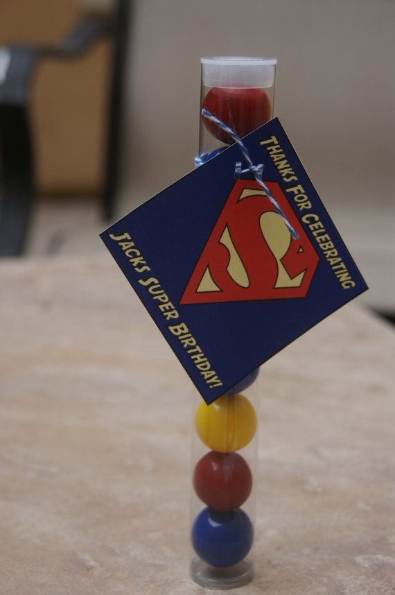 SuperMan Party Favors 5 Superman gumball tubes by DaiseyDoos, $15.00