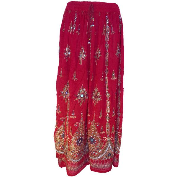 Vibrant Red Festive Long Skirt Dress, Boho Gypsy Elegant Skirt,... (1.415 RUB) ❤ liked on Polyvore featuring dresses, gowns, long red skirt, red sequin dress, red gown, boho dresses and sequin evening gowns