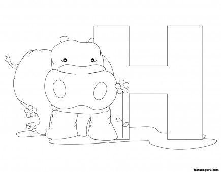 Printable Animal Alphabet Worksheets Letter H Is For Hippopotamus