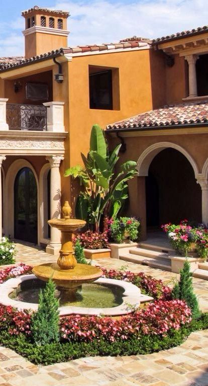 134 best images about fountains pools water features on for Tuscan courtyard landscaping