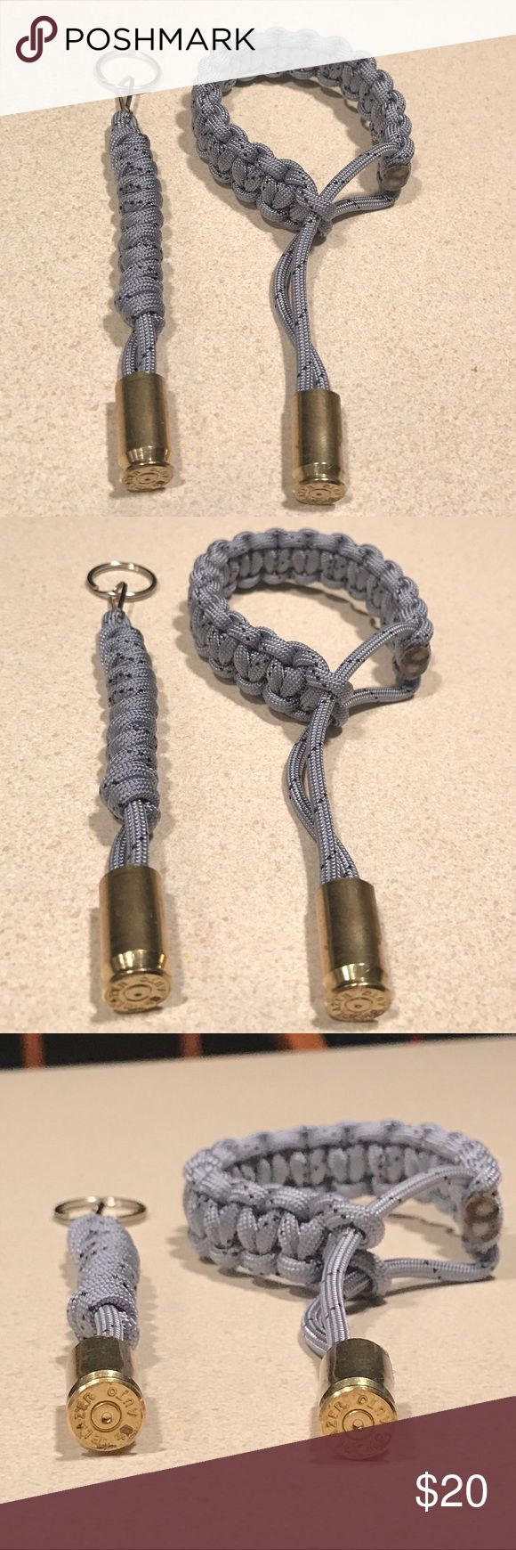 Paracord bullet bracelet & keychain combo! Paracord bullet bracelet & keychain combo- 550 paracord with .40 caliber bullet casings shot by me and made by me! Bracelet is adjustable! Midnight Man Craft Accessories Jewelry