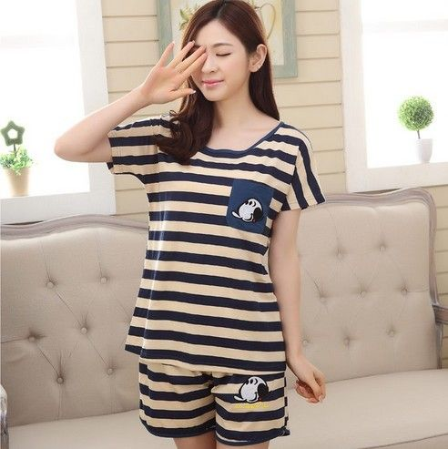 New Summer Short sleeve pajamas woman suit tripe pijamas mujer summer home cloth Leisure time Lovelys M-2XL Women's sprot Sets