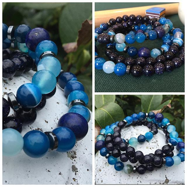 Sale! Triple-loop Bracelet with Striped Blue Agate, Blue Sandstone and Lapis Lazuli. 8mm beads on crystal elastic, with hematite spacers. $60 not including postage. #marshyrjewellery #lapislazuli #stripedblueagate #bluesandstone