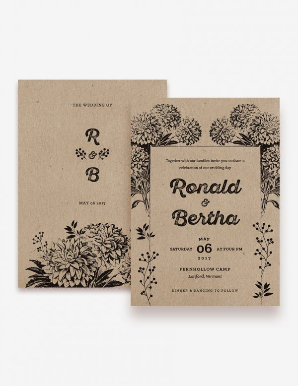 Rustic wedding invitation. Print this design on kraft paper to get the rustic look. www.inatondesign.com
