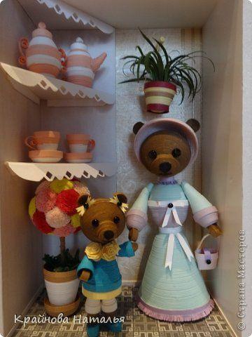 Картина панно рисунок Квиллинг 3D-квиллинг Медведица с медвежоночкой Бумага Бумажные полосы фото 1