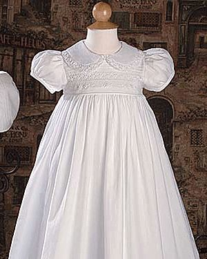 Baby Collar Embroidered with Ruched Bonnet Baptism Dress - Christening Gowns for Girls