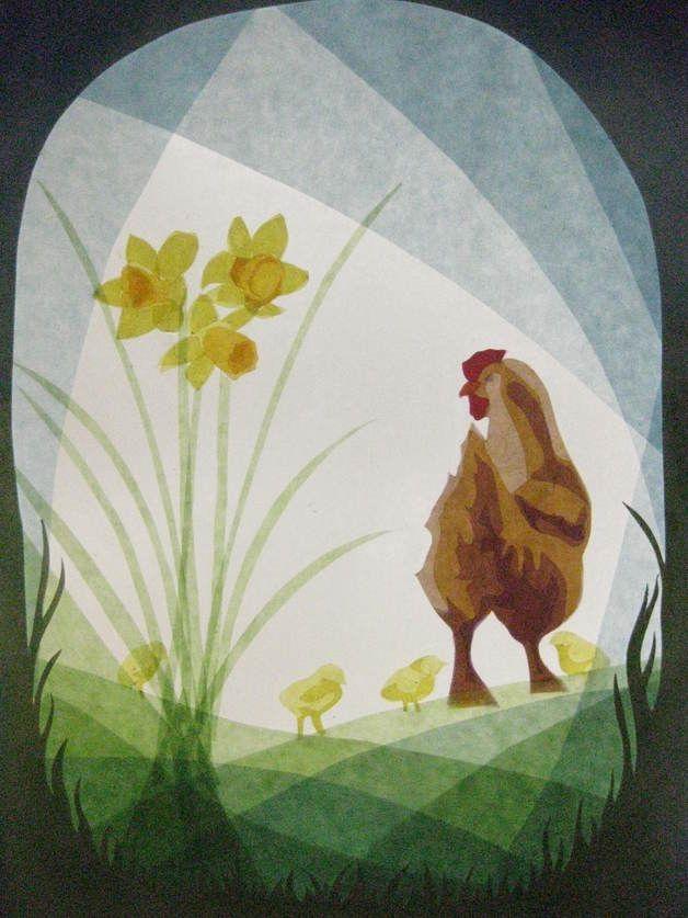 Handgemachte Foto-Grußkarte mit Umschlag. Foto ist von einer ursprünglichen Fensterbild mit einem Huhn mit ihren Küken. Das beigefügte Foto zeigt nur das Design, das auf Weiß / Elfenbein Karte...