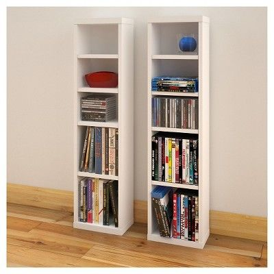 Liber-T CD/Dvd Storage Tower White and Walnut (Set of 2) 38 - Nexera