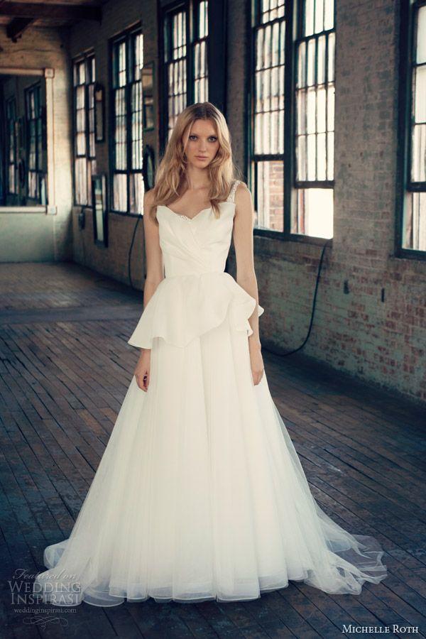 michelle roth bridal 2014 rebecca wedding dress embellished straps