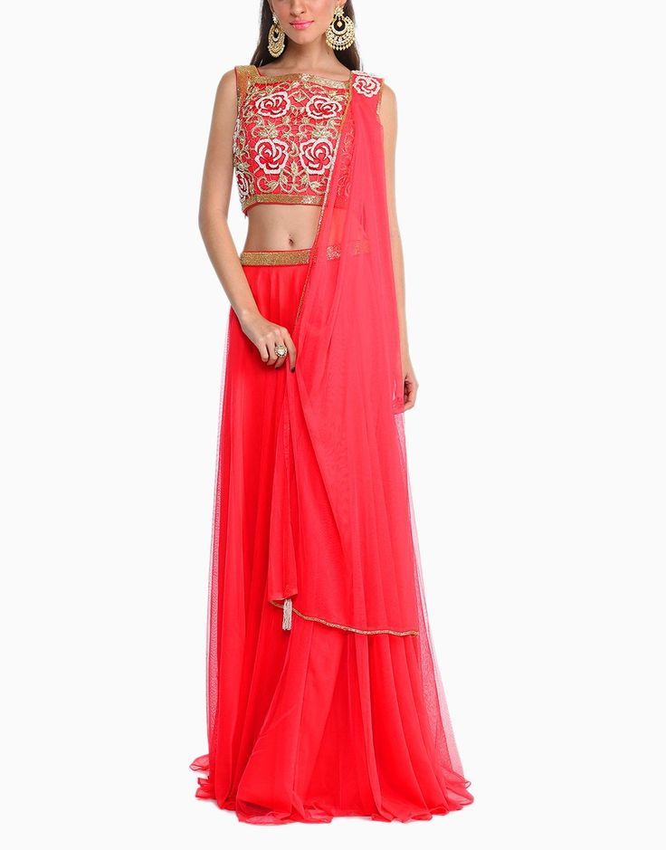 Scarlett Red Top with Lehenga and Dupatta