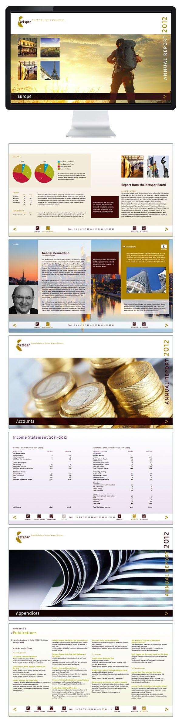 Interactief jaarverslag Netspar 2012, ontwerp en realisatie B-more design uit Tilburg