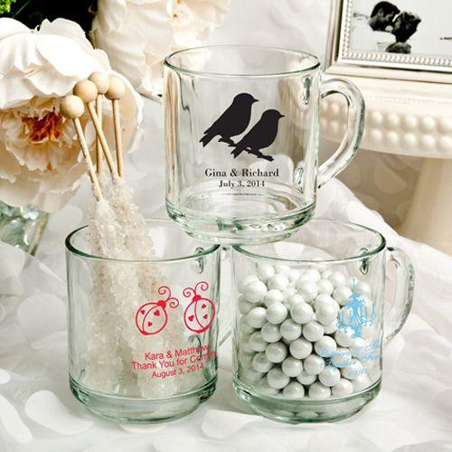 Personalized 10 Oz. glass Handy mug favors