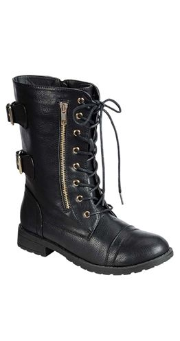 Payton Boots $74.95 CAD ESTIMATED SHIP DATE: This item is NOT in stock. Estimated ship date is Tuesday, October 21, 2014. Time to get with the bootie program. Short boots are all the rage and this particular style combines the combat boot trend with the bootie trend. Of course this pair is much more chic that your average combat style with the buckles on the back and exposed zipper on the side. Ankle Boots Tie up front makes the opening width adjustable. Man made material