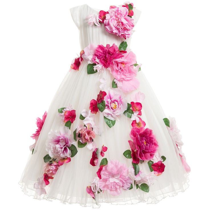 White Tulle Dress with Pink Flower Detail, Lesy, Girl