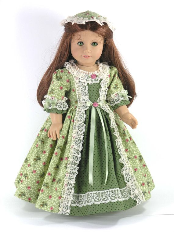 American Girl 18 inch Doll Clothes -  Felicity Dress, Pantalettes, Pinner Cap - Green Floral Dot