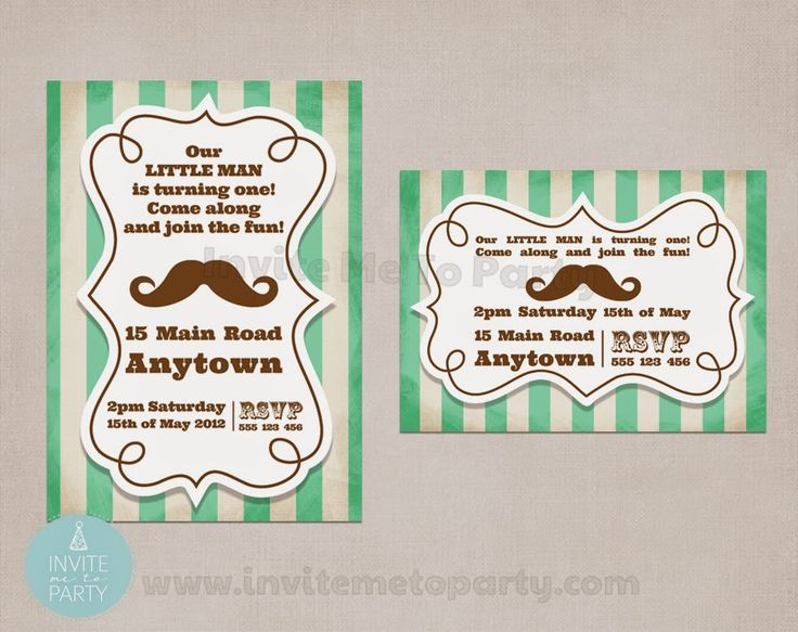 Little Man Party Invitation  Invite Me To Party: Mustache Bash Party / Little Man Party