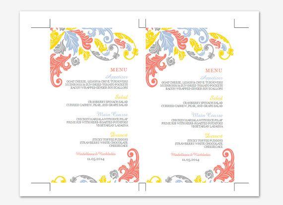 Printable MS Word Wedding Menu Template  Instant by Inkpower, $12.00