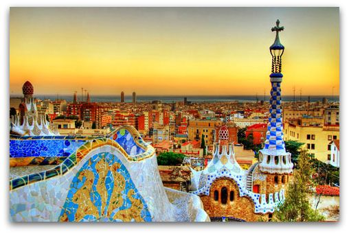 Gaudi park in Barcelona, Spain... one of the most beautiful cities due to the colors and all the different kinds of cobblestones!