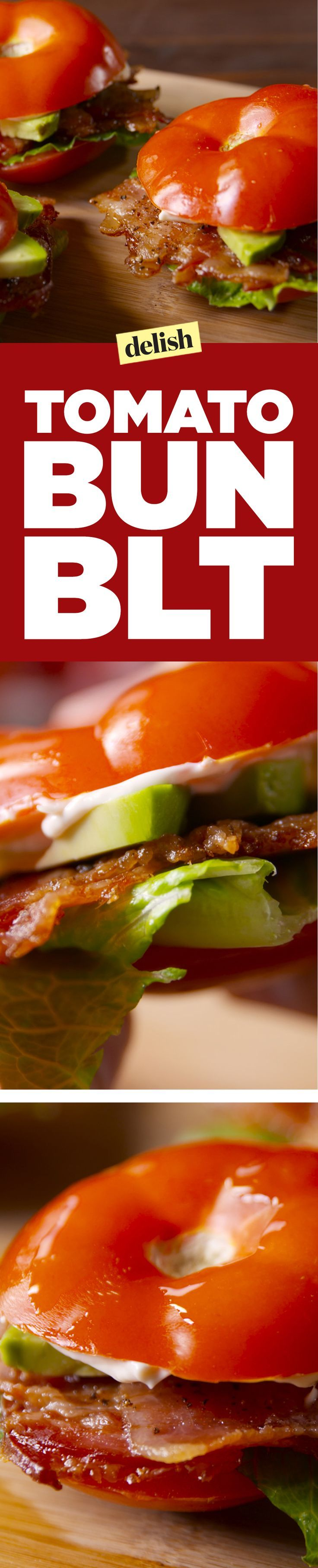 Tomato bun BLTs are so good, you won't even miss the bread. Get the recipe on http://Delish.com.