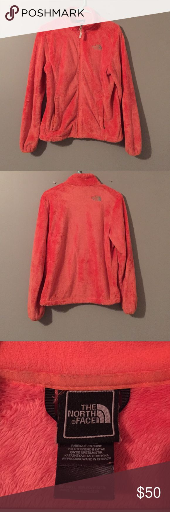 Women's Orange North Face Fleece Jacket North Face, women's fleece jacket. Orange colored, fleece inside and out. Zips up completely. Pockets zip. Size Small. Lightly worn, in great condition! North Face Jackets & Coats