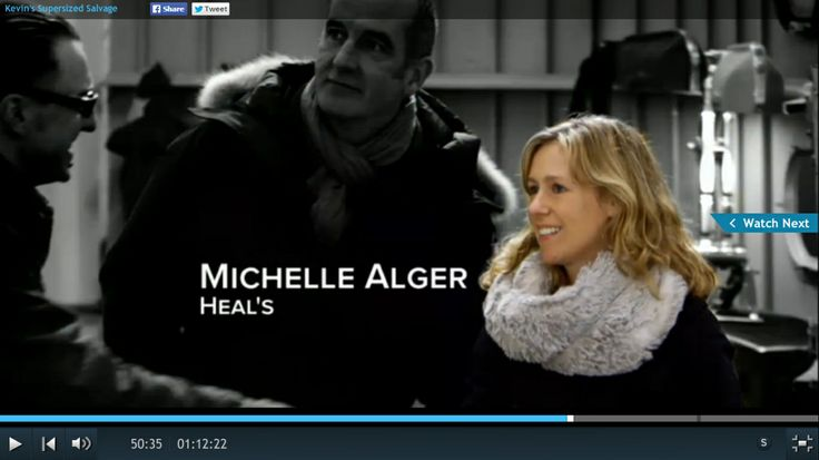 Heal's Buyer Michelle Alger wearing the Blanche in the Brambles chain snood on Kevin McClouds Supersized Salvage.