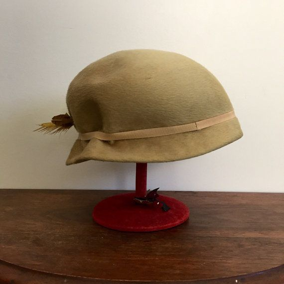 Yellow beaver felt 1930's cloche hat with feathers at by lilynymph