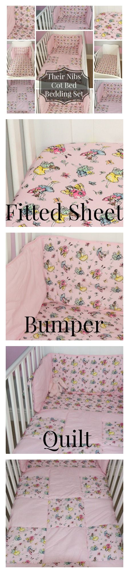 LOVE THIS! So cute! Baby Girl Cot Bedding Set Pink Fairy Design. Fitted Sheet, bumper & Quilt. From www.kidsonthecatwalk.co.uk by 'their nibs london' boys version also available. #VintageDesign #Fairy #Baby Bedding bundle