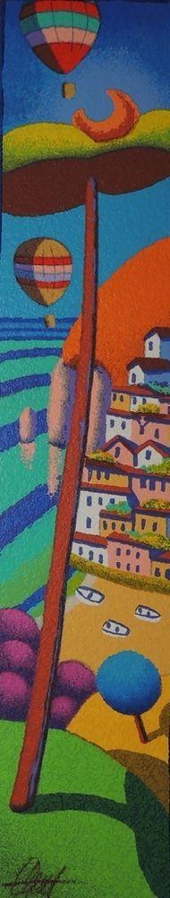 STEFANO CALISTI - positano e il blu - serigrafia su tavola - dimensioni 10x50