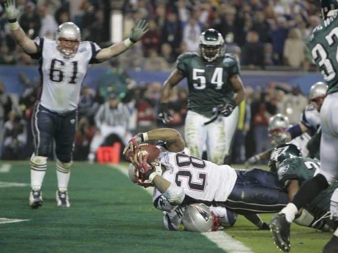 Super Bowl XXXIX (Patriots 24, Eagles 21): Corey Dillon makes a third quarter touchdown, bringing the score to 21-14.