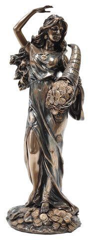Fortuna, Goddess of Fortune. Lady of Luck. Veronese Bronze Figurine Statue