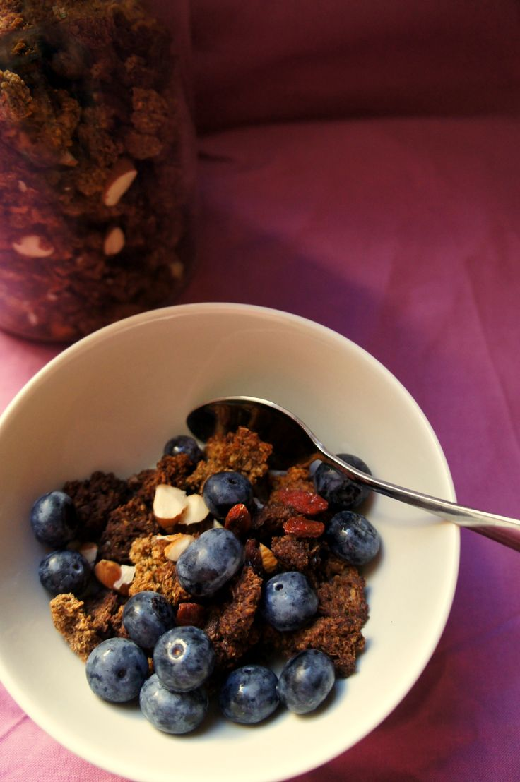 ACD-Friendly Grain-Free Granola (recipe testing for Ricki Heller) - here topped with blueberries
