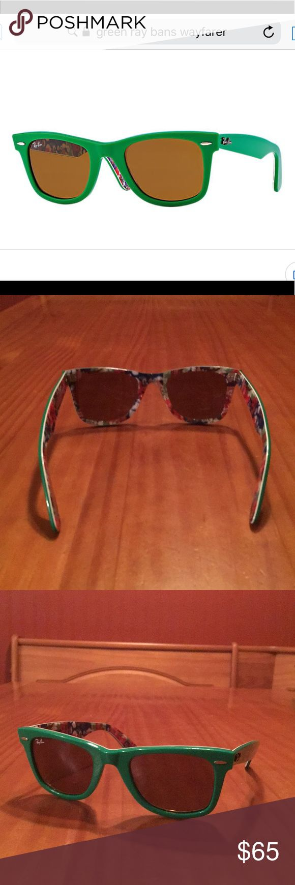 Ray-Bans original wayfarer rare prints sunglasses Green & multicolor Ray-ban original wayfarer rare print sunglasses. Does not come with a case. Condition: good (scuff on one wing) Ray-Ban Accessories Sunglasses