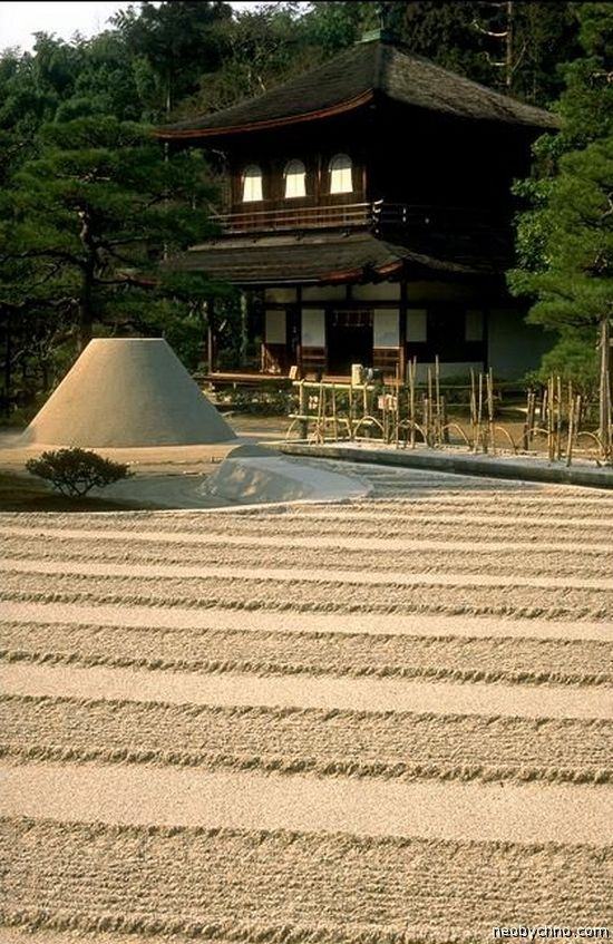 Ginkaku-ji - 1490. The sand dome references Mt. Fuji and reflects the light of the moon.
