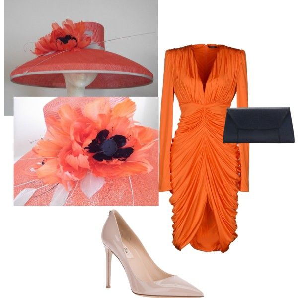 """""""Orange Navy Taupe Kentucky Derby 2014 with Large Orange Hat"""" by rachelwykesmilliner on Polyvore"""