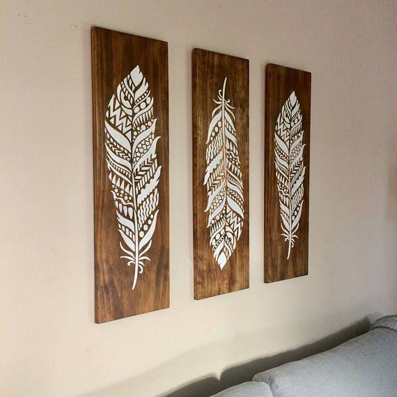 Large Feathers Wall Art On Wood 3 Piece Set Boho Decor
