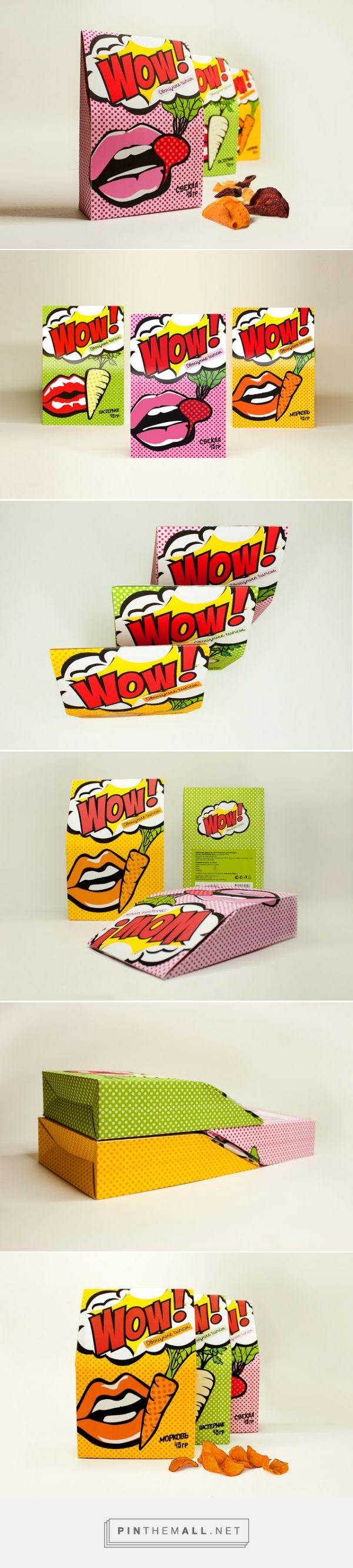 """WOW! Chips For Girls (Student Project) by Anastasia Shakhovskaya. Very fun """"pop art"""" #packaging curated by Packaging Diva PD created via http://www.packagingoftheworld.com/2014/12/wow-chips-for-girls-student-project.html"""