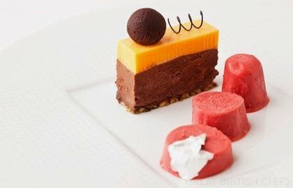 Whisky truffle, dark chocolate-chikki delice, orange mousse and cranberry kulfi - Vineet Bhatia ~ Recipes