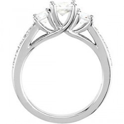 She will love this Princess Cut, 3 diamond, 14K White Gold Engagement Ring with smaller accent diamonds that give it a luxurious and sophisticated appeal. This ring comes complete with diamonds. There is also a matching wedding band available that comes complete with the diamonds and is priced according to the ring finger size. Please call for pricing. The size of the center diamond is approximately .4 Ct.