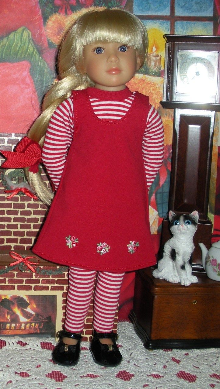 """Wonderful World of Dolls - Fits 18"""" Kidz 'n' Cats Doll ... Red Jumper with 3 Red Rosebuds ... D898, $9.50 (http://www.wonderfulworldofdolls.biz/fits-18-kidz-n-cats-doll-red-jumper-with-3-red-rosebuds-d898/)"""