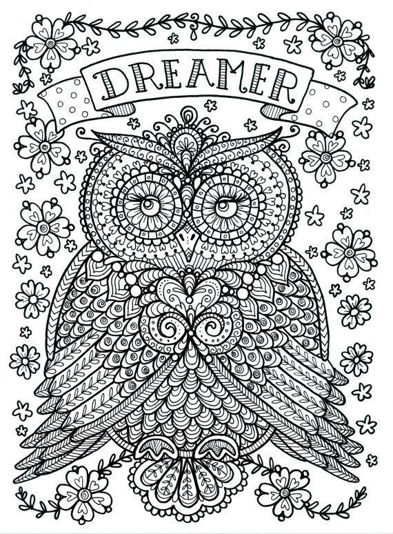 ツ ღ Poster to Color Large Size 11x14 Owl Dreamer by ChubbyMermaid, $3.99