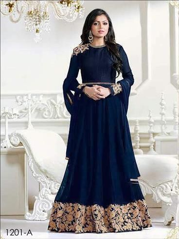 -A Mid night Blue Designer Anarkali Replica | www.olivoo.com