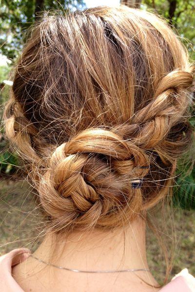 two dutch braids folded into a messy bun // wow!