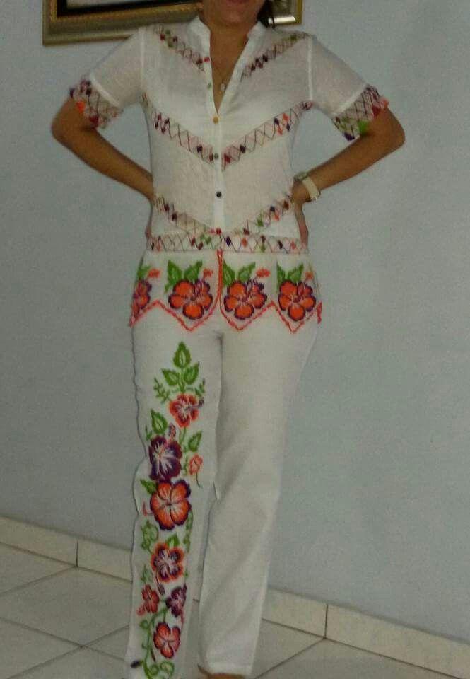 Colorful pant /blouse set