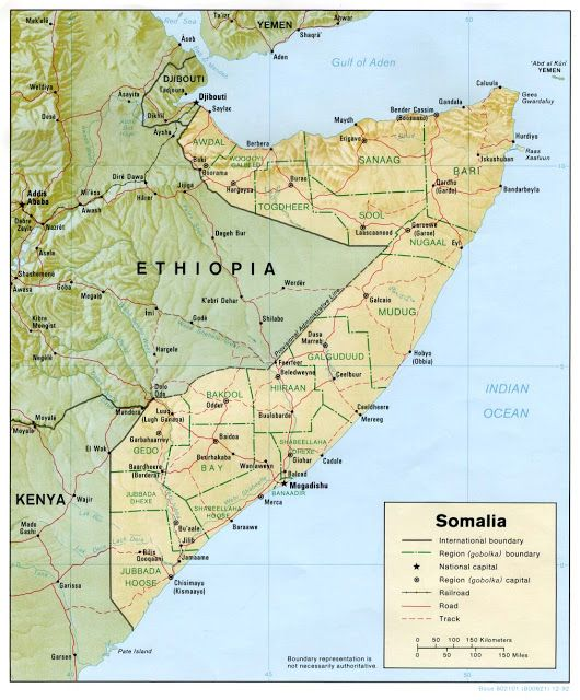 Somalia Geografiske Kort Over Somalia