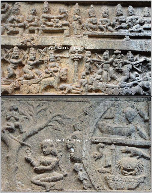 This temple has intricate carvings on its four sides depicting the entire Ramayana and Mahabharata. Western Ghats: Nilakanteswara temple - Jammatige Agrahara, Hariharapura